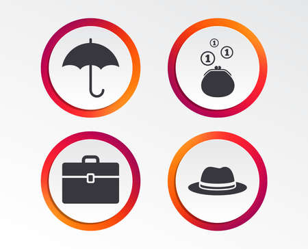 Clothing accessories icons. Infographic design buttons. Circle templates. Vector Vectores