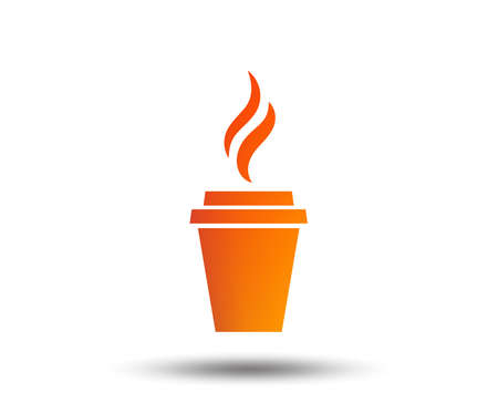 Coffee cup sign icon. Hot coffee button. Hot tea drink with steam. Takeaway. Blurred gradient design element. Vivid graphic flat icon. Vector Ilustração