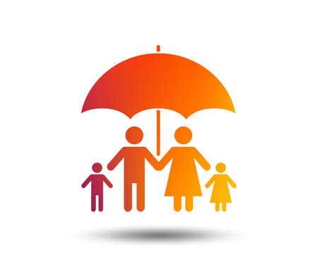 Complete family insurance sign icon. Umbrella symbol. Blurred gradient design element. Vivid graphic flat icon. Vector Ilustração