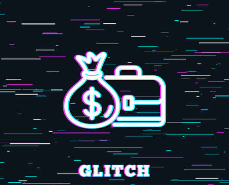 Glitch effect. Business case line icon. Portfolio and Salary symbol. Diplomat with Money bag sign. Background with colored lines. Vector Illustration