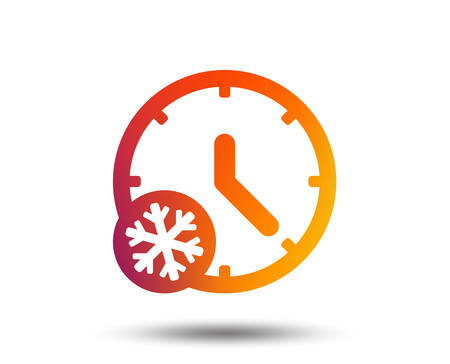 Winter time icon. Daylight saving time with snowflake symbol. Blurred gradient design element. Vivid graphic flat icon. Vector