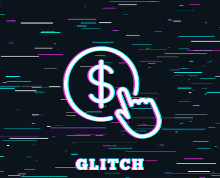 Glitch effect. Hand Click line icon. Currency exchange sign. Cursor pointer symbol. To pay or get money. Background with colored lines. Vector