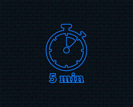 Neon light. Timer sign icon. 5 minutes stopwatch symbol. Glowing graphic design. Brick wall. Vector