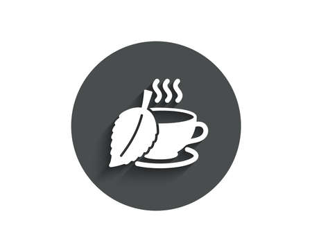 Mint Tea simple icon. Fresh herbal beverage sign. Cup of drink symbol. Circle flat button with shadow. Vector
