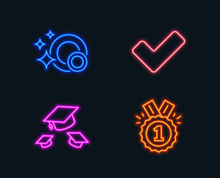 Neon lights. Set of Clean dishes, Throw hats and Tick icons. Approved sign. Glowing graphic designs. Vector