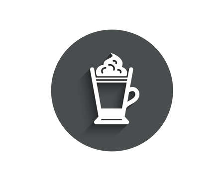 Latte coffee with Whipped cream icon. Hot drink sign. Beverage symbol. Circle flat button with shadow. Vector 일러스트