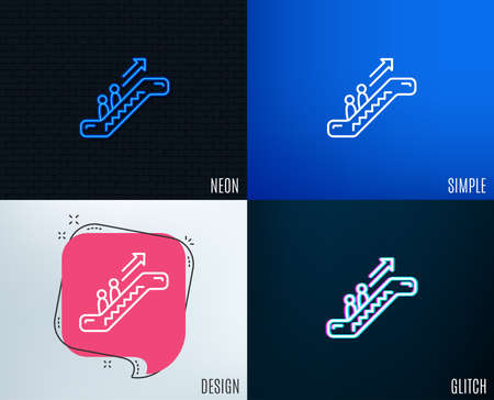 Glitch, Neon effect. Escalator line icon. Elevator sign. Shopping stairway symbol. Trendy flat geometric designs. Vector Stock Illustratie