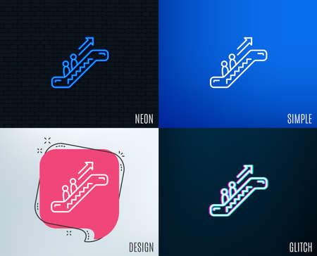 Glitch, Neon effect. Escalator line icon. Elevator sign. Shopping stairway symbol. Trendy flat geometric designs. Vector Illustration