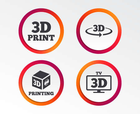 3d technology icons. Infographic design buttons. Circle templates. Vector