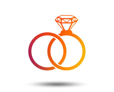Wedding and engagement ring icon. Blurred gradient design element. Vivid graphic flat icon. Vector