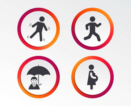 Businessman with umbrella icon. Human running symbol. Women Pregnancy. Life insurance. Infographic design buttons. Circle templates. Vector