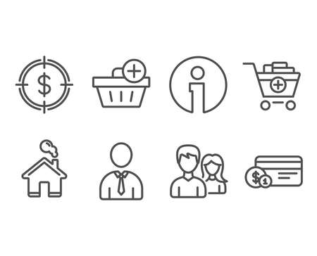 Set of Dollar target and other different icons Çizim