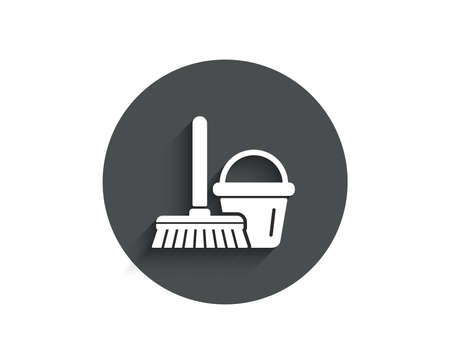 Cleaning bucket with mop simple icon. Washing Housekeeping equipment sign. Circle flat button with shadow. Vector