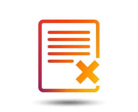 Delete file sign icon. Remove document symbol. Blurred gradient design element. Vivid graphic flat icon. Vector