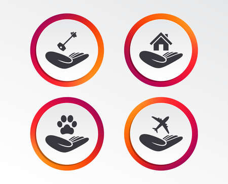 Helping hand icons. Shelter for dogs symbol. Home house or real estate and key signs. Flight trip insurance. Infographic design buttons. Circle templates. Vector