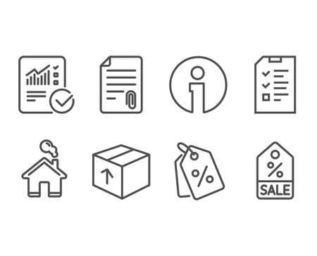 Set of Checked calculation, Attachment and Interview icons.