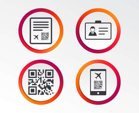 QR scan code in smartphone icon. Boarding pass flight sign. Identity ID card badge symbol. Infographic design buttons. Circle templates. Vector