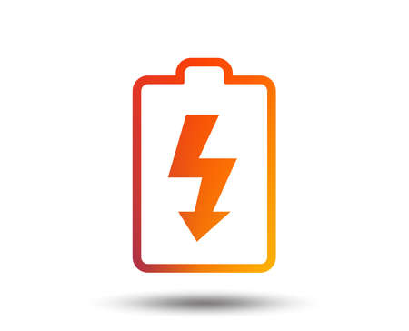 Battery charging sign icon. Lightning symbol. Blurred gradient design element. Vivid graphic flat icon. Vector