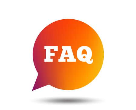 FAQ information sign icon. Help speech bubble symbol. Blurred gradient design element. Vivid graphic flat icon. Vector
