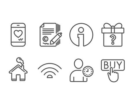 Set of Wifi, Love chat and Time management icons. Copywriting, Secret gift and Buying signs. Wifi internet, Smartphone, User with clock.  copyright signature, Unknown package, E-commerce shopping 版權商用圖片 - 98643210