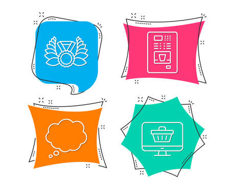 Set of Laureate medal, Comic message and Coffee vending icons. Web shop sign. Laurel wreath, Speech bubble, Coffee vending machine. Shopping cart. Flat geometric colored tags. Vivid banners. Vector