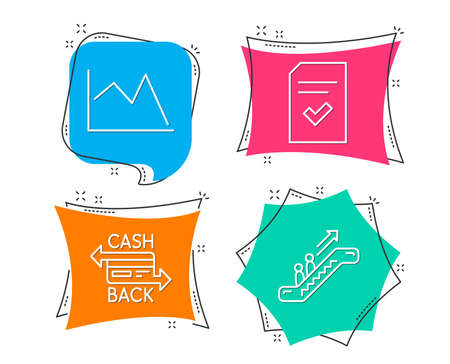 Set of Checked file, Cashback card and Line chart icons. Escalator sign. Correct document, Money payment, Financial graph. Elevator. Flat geometric colored tags. Vivid banners. Trendy graphic design