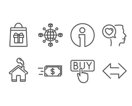Set of Logistics network, Holidays shopping and Money transfer icons. Romantic talk, Buying and Sync signs. International tracking, Gifts bag, Cash delivery. Vector