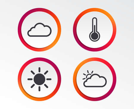 Weather icons. Cloud and sun signs. Thermometer temperature symbol. Infographic design buttons. Circle templates. Vector