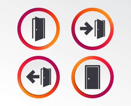 Doors icons. Emergency exit with arrow symbols. Fire exit signs. Infographic design buttons. Circle templates. Vector Vettoriali