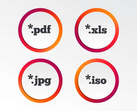 Document icons. File extensions symbols. PDF, XLS, JPG and ISO virtual drive signs. Infographic design buttons. Circle templates. Vector Illustration