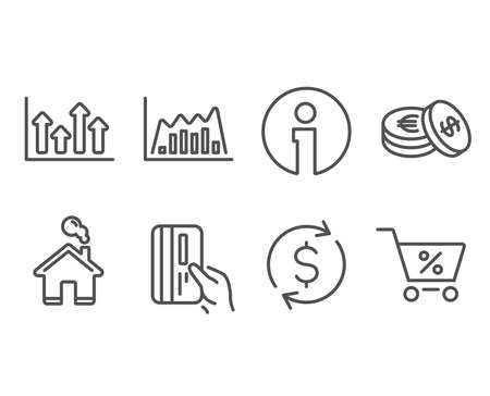 Set of Dollar exchange, Payment card and Upper arrows icons. Infographic graph, Savings and Special offer signs. Banking rates, Credit card, Growth infochart. Line diagram, Cash coins, Discounts Vector illustration.