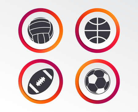 Sport balls icons. Volleyball, Basketball, Soccer and American football signs. Team sport games. Infographic design buttons. Circle templates. Vector