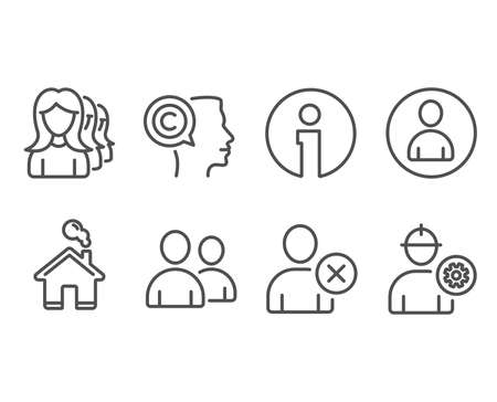 Set of Delete user, Users and Women headhunting icons. Writer, Avatar and Engineer signs. Remove profile, Couple of people, Women teamwork. Copyrighter, User profile, Worker with cogwheel. Vector