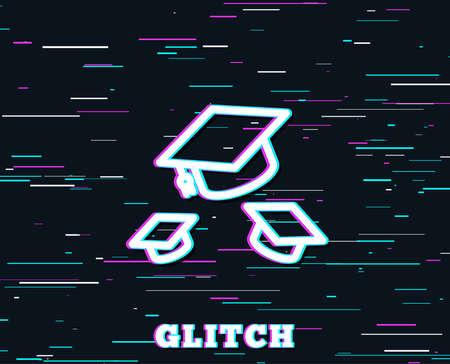 グリッチ効果。卒業キャップラインアイコン。教育サイン。学生用帽子記号。色付きの線を含む背景。ベクトル