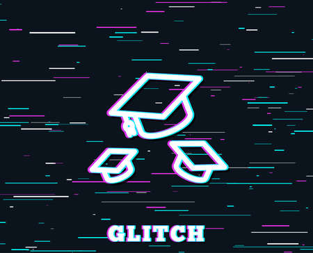 Glitch effect. Graduation caps line icon. Education sign. Student hat symbol. Background with colored lines. Vector