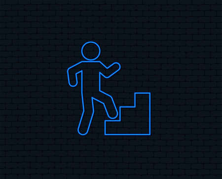 Neon light. Upstairs icon. Human walking on ladder sign. Glowing graphic design. Brick wall. Vector Illustration
