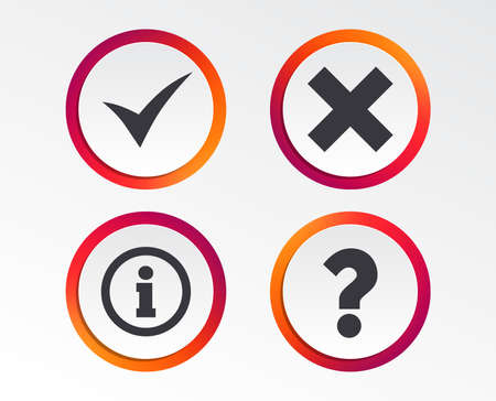 Information icons. Delete and question FAQ mark signs. Approved check mark symbol. Infographic design buttons. Circle templates. Vector