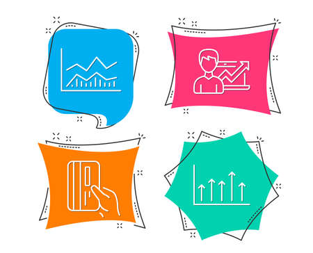 Set of Trade infochart, Payment card and Success business icons. Growth chart sign. Business analysis, Credit card, Growth chart. Upper arrows. Flat geometric colored tags. Vivid banners. Vector Illustration
