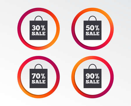 Sale bag tag icons. Discount special offer symbols. Infographic design buttons. Circle templates. Vector 向量圖像