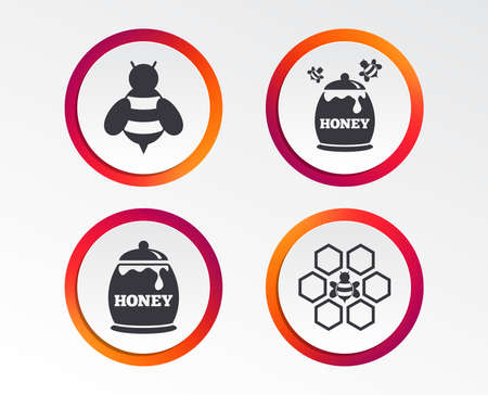 Honey icon. Honeycomb cells with bees symbol. Sweet natural food signs. Infographic design buttons. Circle templates. Vector Illustration