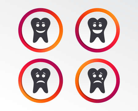 Tooth emoticons set. Infographic design buttons. Circle templates. Vector