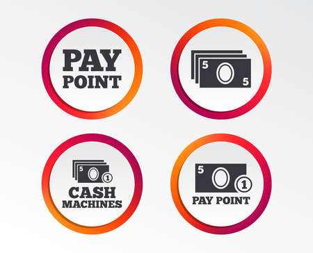 Payment and withdrawal icons. Infographic design buttons. Circle templates. Vector Çizim