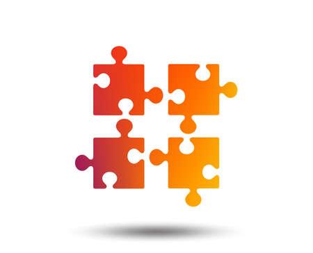 Puzzle pieces icon. Strategy symbol. Blurred gradient design element. Vivid graphic flat icon. Vector Stock Vector - 98904900