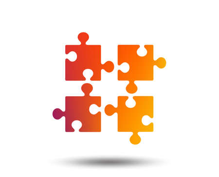 Puzzle pieces icon. Strategy symbol. Blurred gradient design element. Vivid graphic flat icon. Vector