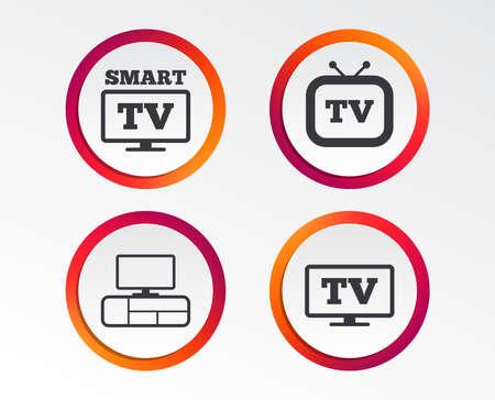 スマートテレビモードアイコン。ワイドスクリーン記号。レトロなテレビとテレビのテーブルサイン。インフォグラフィックデザインボタン。円テ  イラスト・ベクター素材