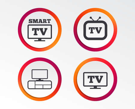 Smart TV mode icon. Widescreen symbol. Retro television and TV table signs. Infographic design buttons. Circle templates. Vector Illustration