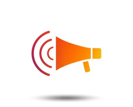 Megaphone sign icon. Loudspeaker strike symbol. Blurred gradient design element. Vivid graphic flat icon. Vector