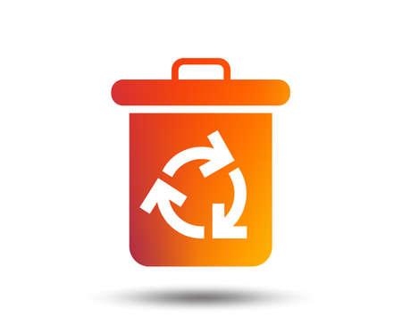Recycle bin icon. Reuse or reduce symbol. Blurred gradient design element. Vivid graphic flat icon. Vector Banco de Imagens - 98944971