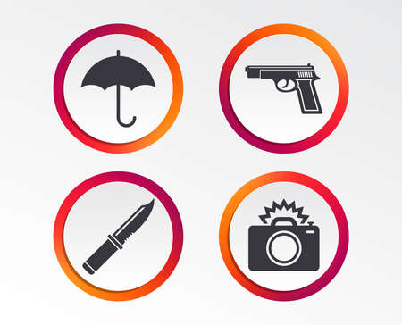 Different weapon icons. Infographic design buttons. Circle templates. Vector