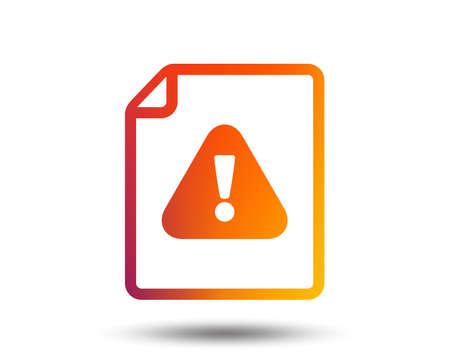 File attention sign icon. Exclamation mark. Hazard warning symbol. Blurred gradient design element. Vivid graphic flat icon. Vector Foto de archivo - 98945087